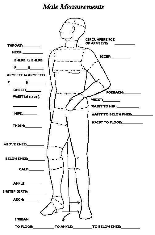 Male Measurements Chart Sewing Measurements Sewing Men Mens Measurements