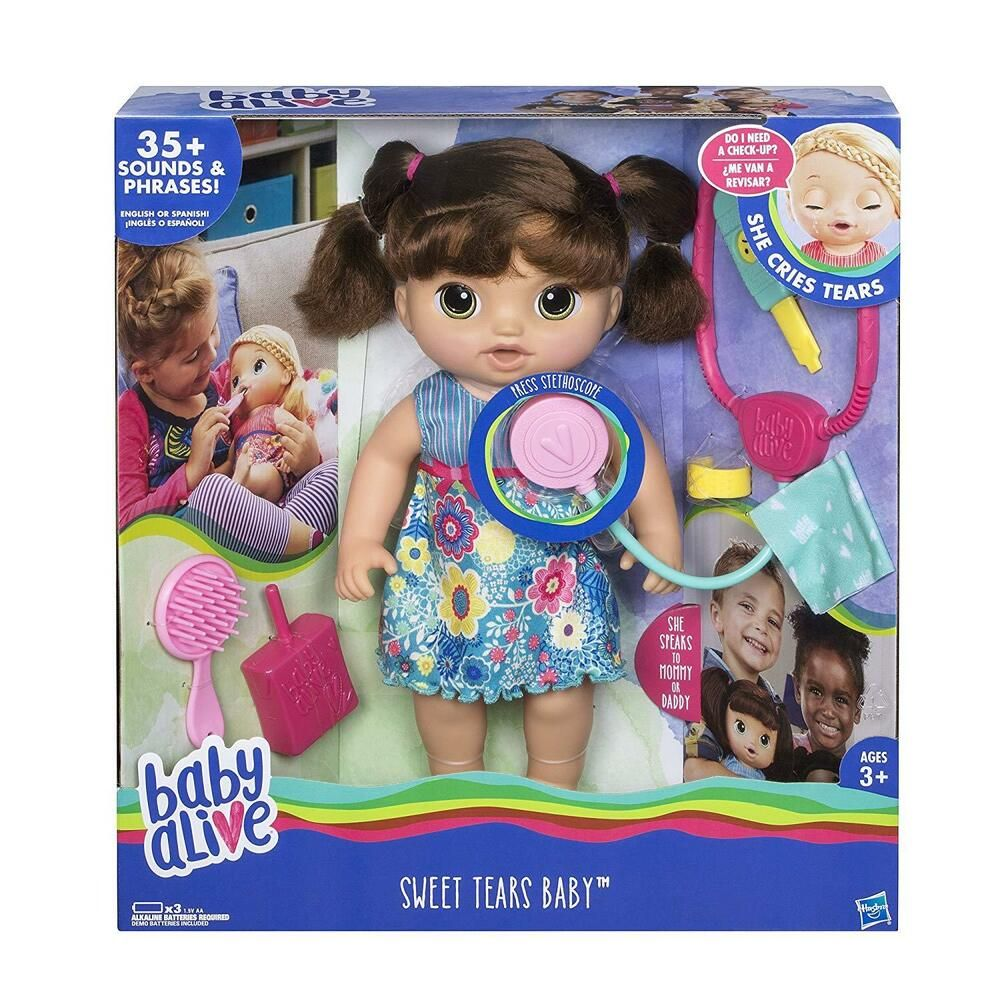 Baby Alive Sweet Tears Baby Brunette Cries Tears Speaks English Spanish Doll Hasbro Baby Alive Baby Alive Dolls Baby Dolls