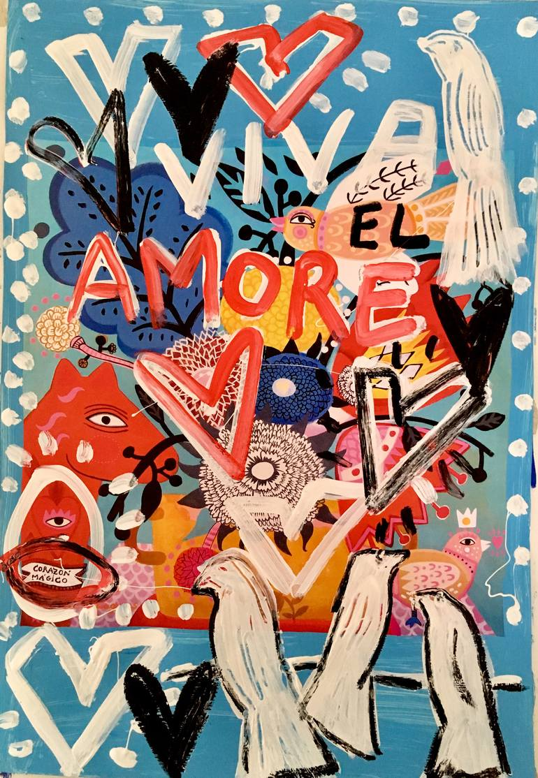 """Saatchi Art is pleased to offer the painting, """"Viva El Amore,"""" by Mercedes Lagunas, available for purchase at $190 USD. Original Painting: Paper on Acrylic, Tempera. Size is 18.9 H x 13 W x 0.4 in."""