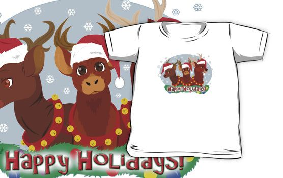 Three Christmas Deer Kids T-shirt #reindeer #christmas #holidays #animals #snowflakes
