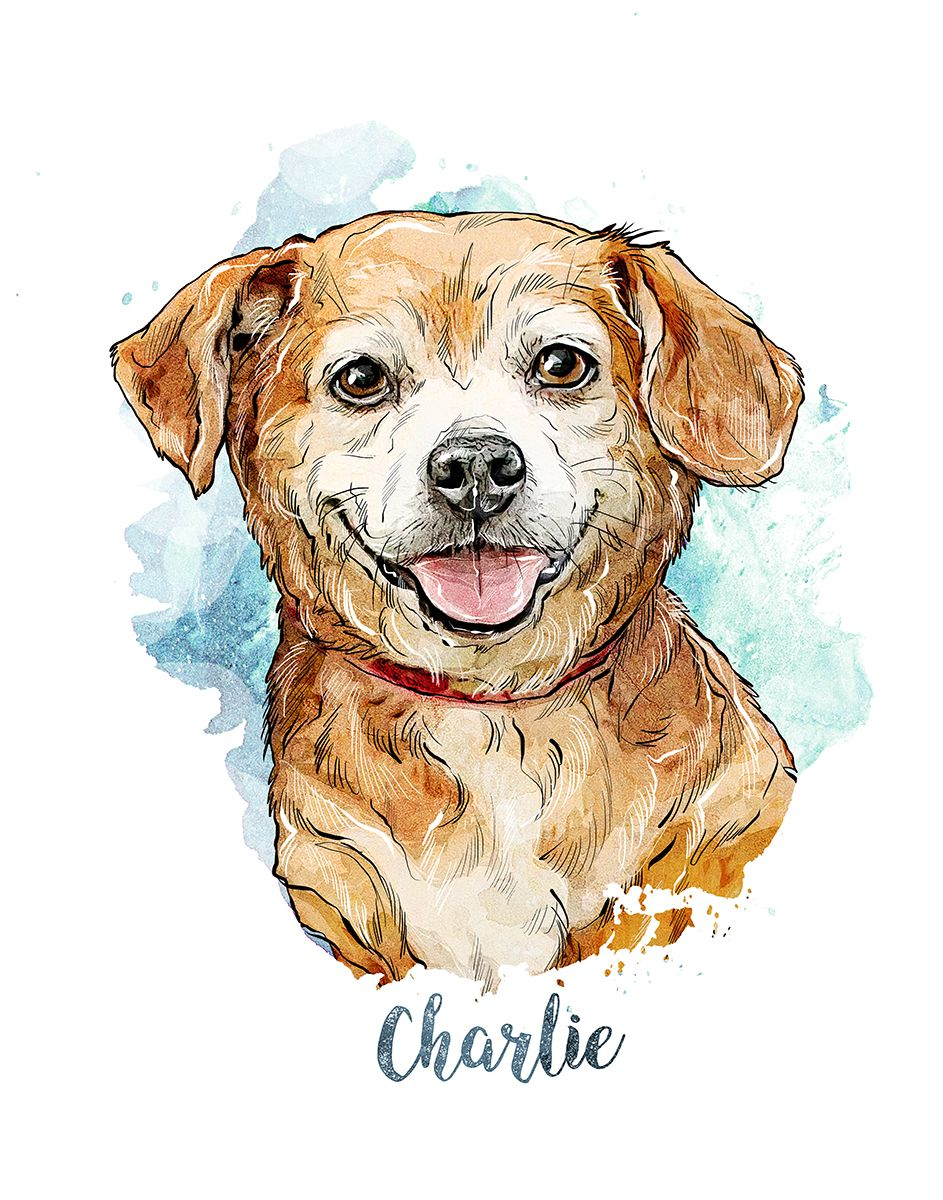 Custom Pet Portrait Watercolor Dog Painting Digital Pet Art
