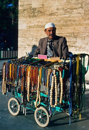 Necklace seller in Istanbul.