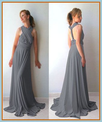 4c2635566bb Tailored to Size   LengthConvertible Infinity Dress - floor length with  long straps in middle gray color wrap dress