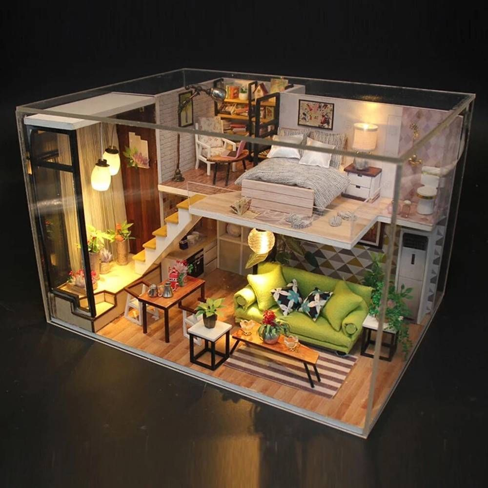 Mini Dollhouse Miniature DIY Kit with Cover Wood Toy Doll House Cottage With LED