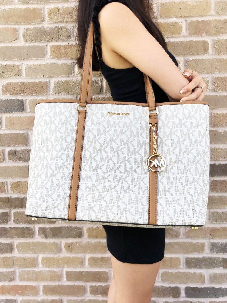 5c233536b35842 Michael Kors Sady Large Multifunctional Top Zip tote Vanilla MK Acorn  Laptop Bag #MichaelKors #Tote