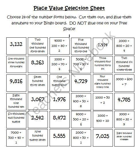 place value bingo common core great way to practice math vocabulary as well 2nd 3rd grade. Black Bedroom Furniture Sets. Home Design Ideas