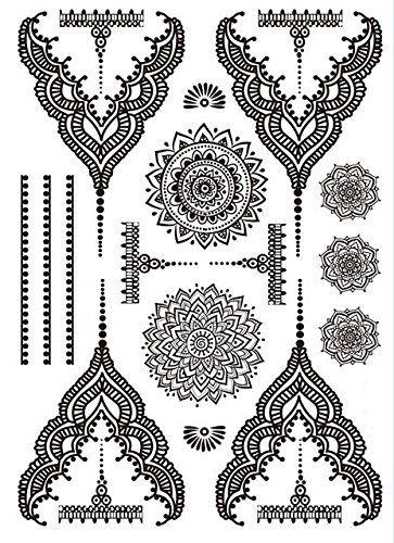 6 Sheets Wrist Body Art Henna Tattoo Stencil Flower: Henna 5 Sheets Body Art Temporary Tattoo Sticker Design