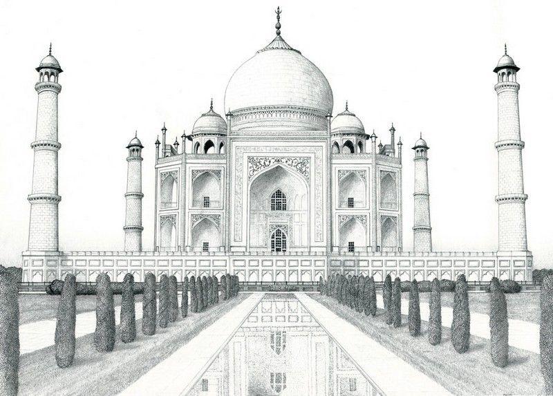 Coloriage adulte inde taj mahal 3 voyages landscape pencil drawings taj mahal drawing et - Coloriage inde ...