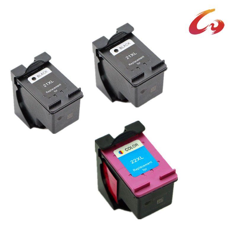 2 pcs + 1 pcs Tri-color For HP 21 22 Ink Cartridge For HP 21xl Deskjet F2280 F380 F2100 F2110 F2240 F2280 F2250 F4100 F370 D1360