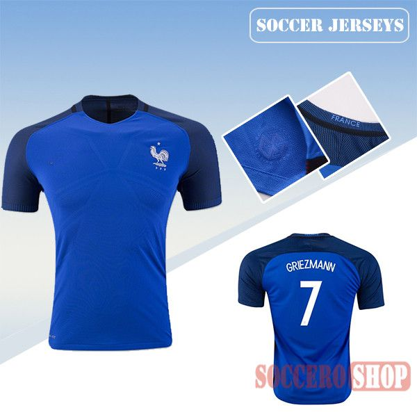 Latest Best France Blue 2016 2017 Home Soccer Jersey With Griezmann 7  Printing  1d107e33a