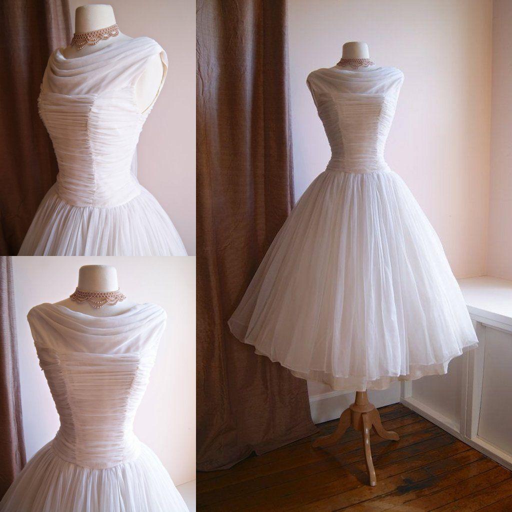 Vintage tea length wedding dresses short beach bridal gown cheap