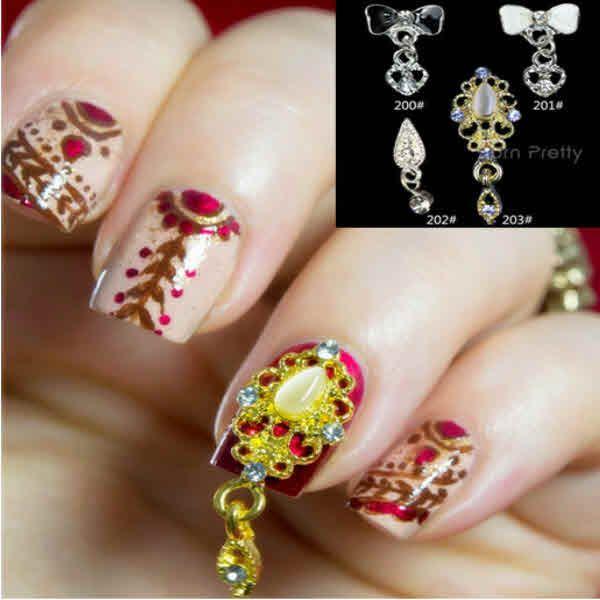 Cute Nail Designs – 2 Pcs 4 Patterns Hollow Rhinestoned Bow Dangles ...