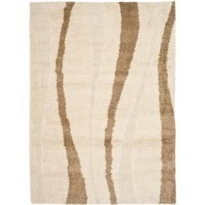 Safavieh Shag Cream/Dark Brown 8.5 ft. x 12 ft. Area Rug-SG451-1128-9 at The Home Depot