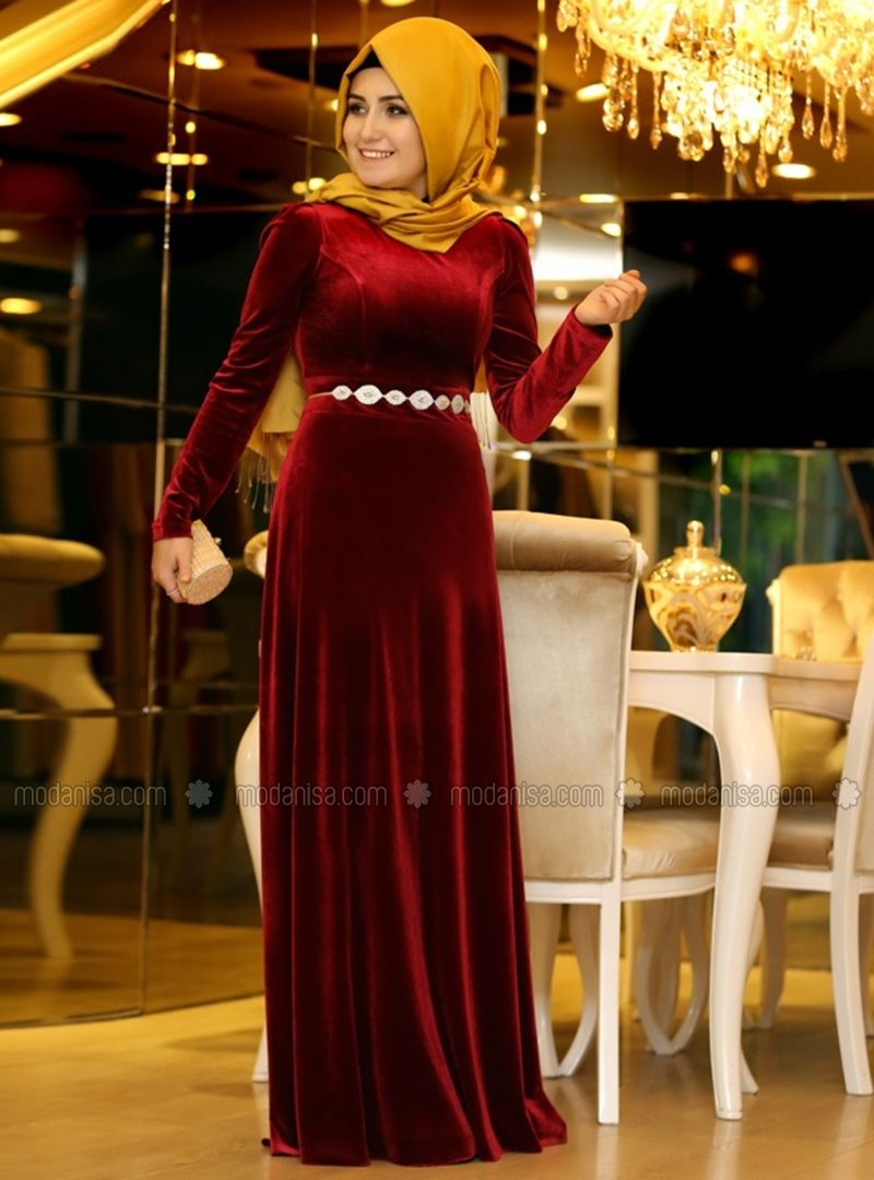 Plain Velvet Abiye Red Modanisa The Dress Elbise Dress Outfits