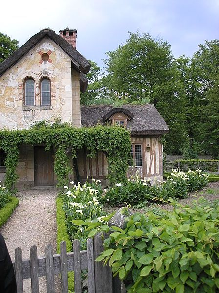 Gardens at the cottage, built in the garden surroundings of the Petit Trianon, of which the hameau de la Reine is an extension,