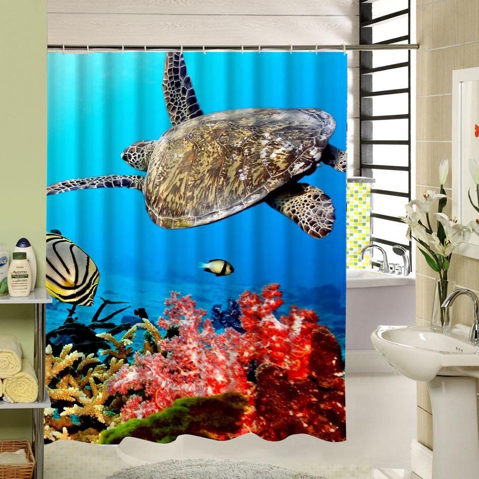 Sea Turtle Shower Curtain Ethan Room In 2019 Shower Bathroom