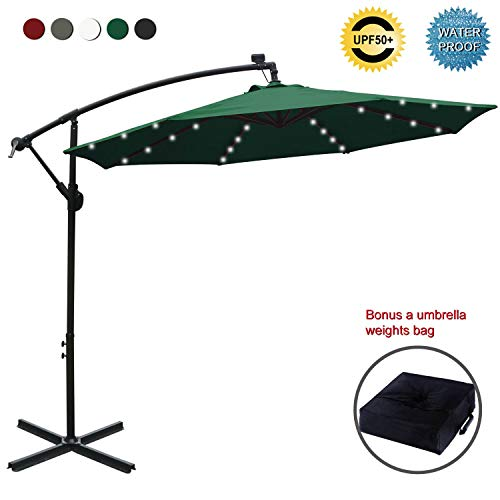 Amazon Com Abccanopy 10 Ft Solar Powered Led Patio Outdoor Umbrella Hanging Umbrella Cantilever Umbrella Patio Umbrellas Offset Patio Umbrella Patio Umbrella