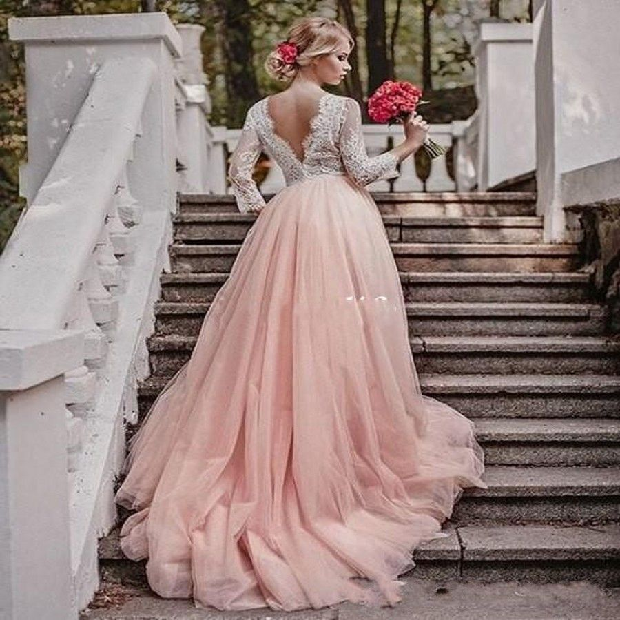 Unique plus size wedding dresses with sleeves - Western Country Garden Long Sleeves Wedding Dresses Backless Deep V Neck Lace Blush Tulle A Line
