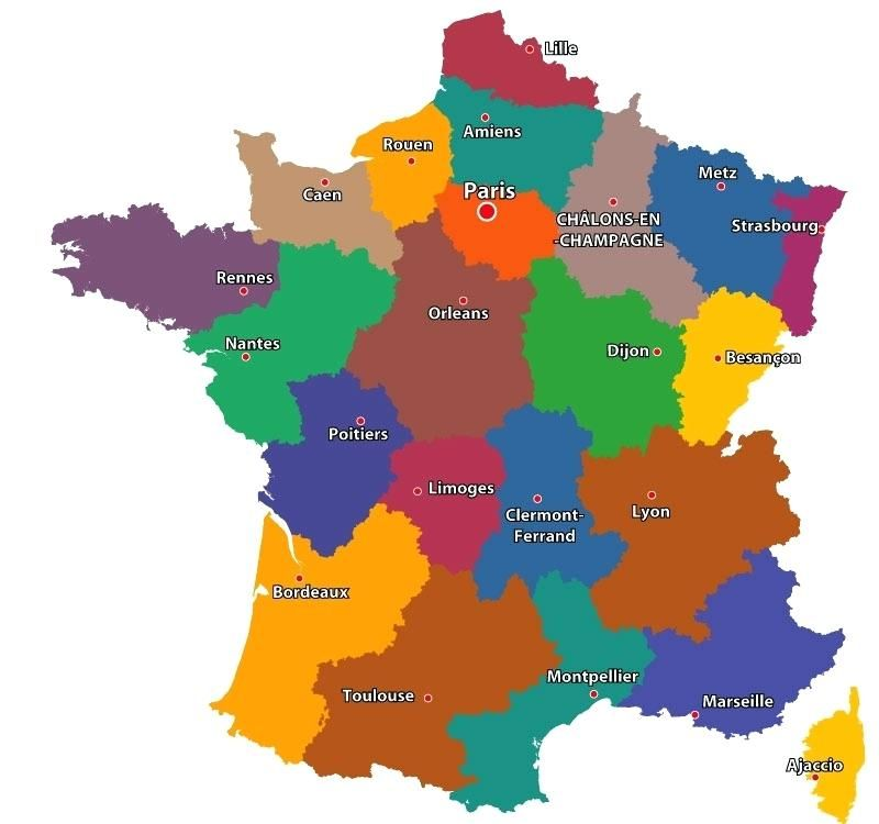 Map Of France Regions With Cities.Maps France Map Of Cities Regions With City Capitals And Towns