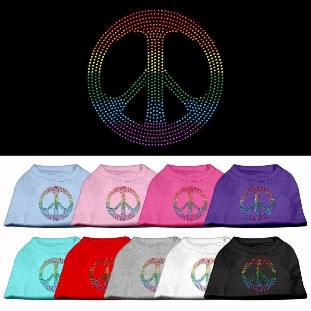 Rhinestone Rainbow Peace Sign Dog Shirt