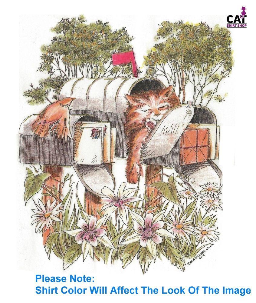 Sleepy Cat in Mailbox Shirt, kitty friends & flowers in garden, sweet & furry #Unbranded #CrewNeck