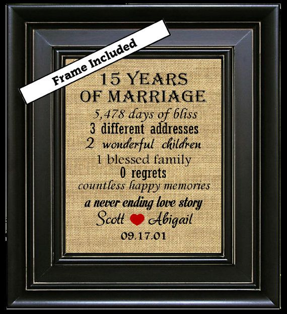 17 Year Wedding Anniversary Traditional Gift: FRAMED 15th Anniversary Gift For Couple/15th Anniversary