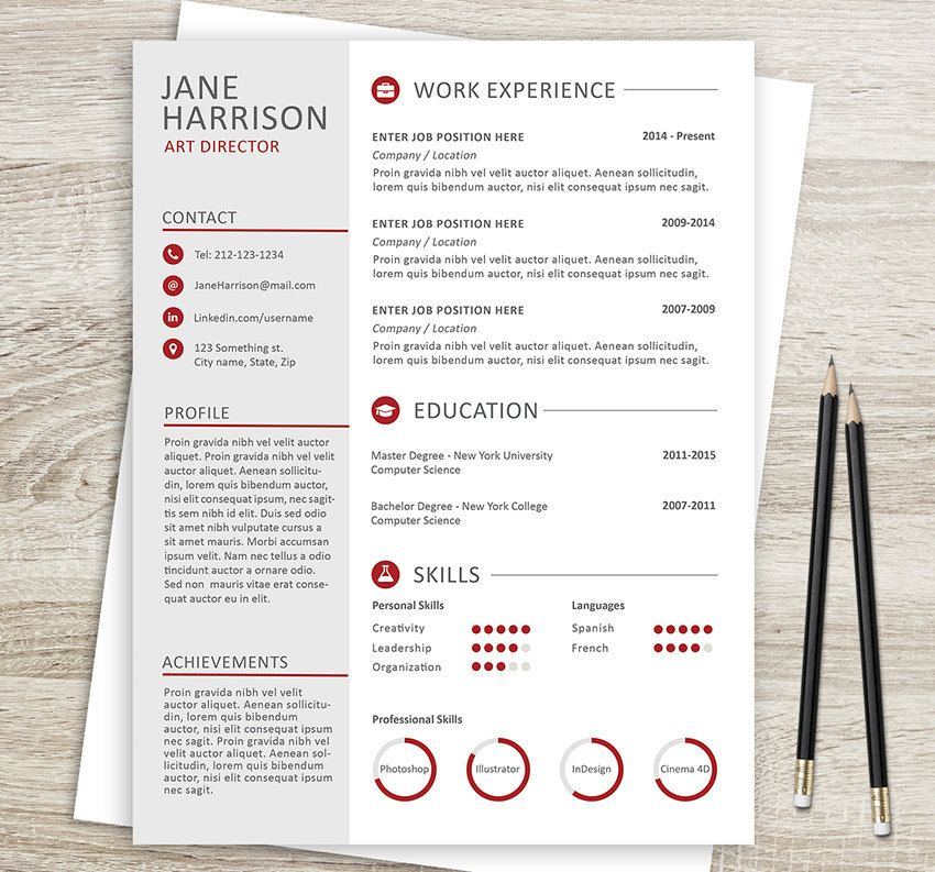 Creative Resume Template 08 - Cover Letter - Word Resume Template - contacts template word