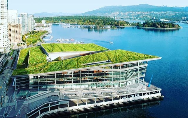 A Flagship Of Green Buildings In Canada The Vancouver Convention Centre Is The First Double Leed Leadership In Energy And E Green Building Green Roof Building