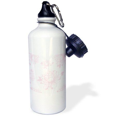 3dRose Pretty Chic Pink Flowers floral art, Sports Water Bottle, 21oz, White