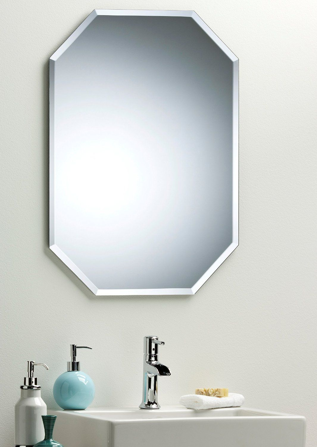 Octagon Bathroom Wall Mirror Modern Stylish With Bevel Plain 2