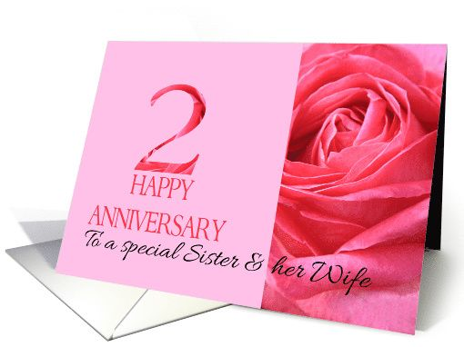 2nd Anniversary To Sister And Wife Pink Rose Close Up Card Anniversary Cards For Couple 1st Anniversary Cards Happy Anniversary Cards