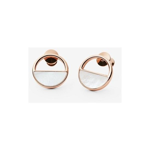 48539f5f4 Skagen Elin Rose-Gold-Tone and Mother-of-Pearl Stud Earrings ($60 ...
