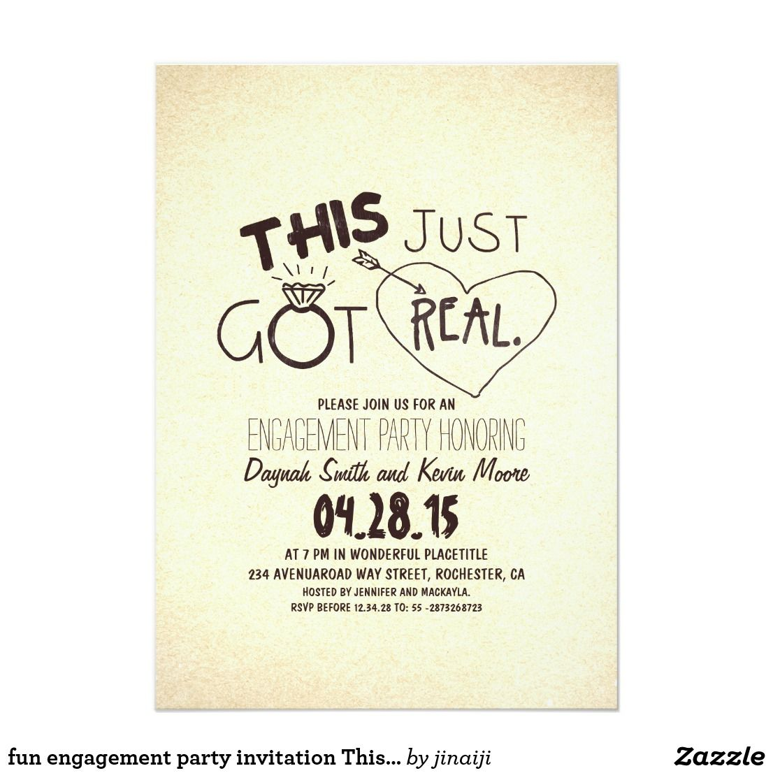 Fun Engagement Party Invitation This Just Got Real Zazzle Com Fun Engagement Party Creative Engagement Party Invitations Engagement Party