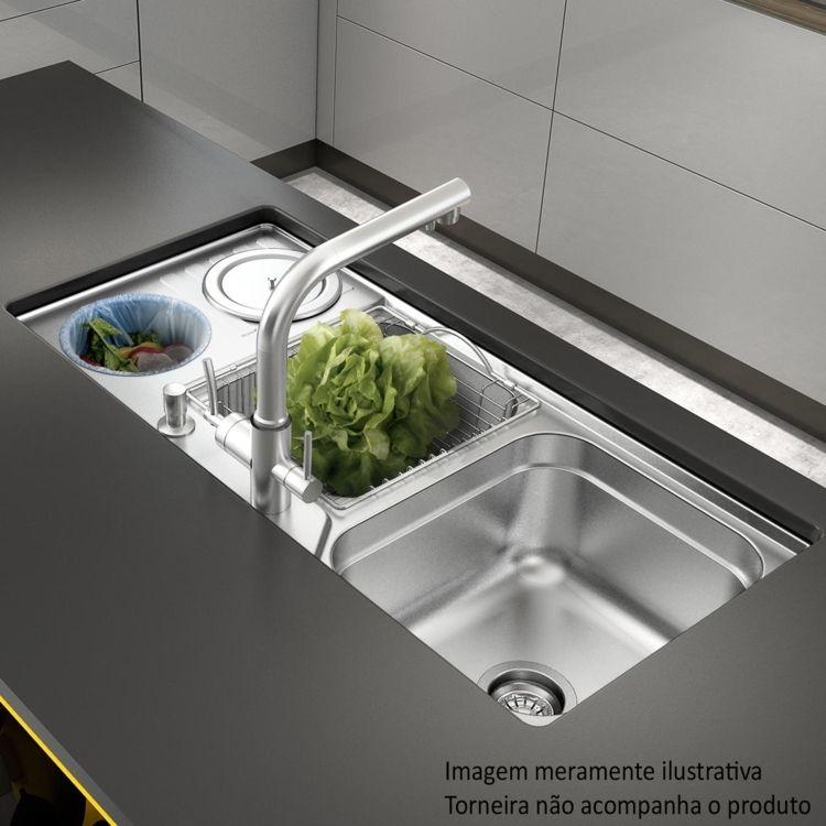 cuba de embutir para cozinha de bacco funzionale v lvula 4 1 2 39 39 acetinado cozinha pinterest. Black Bedroom Furniture Sets. Home Design Ideas