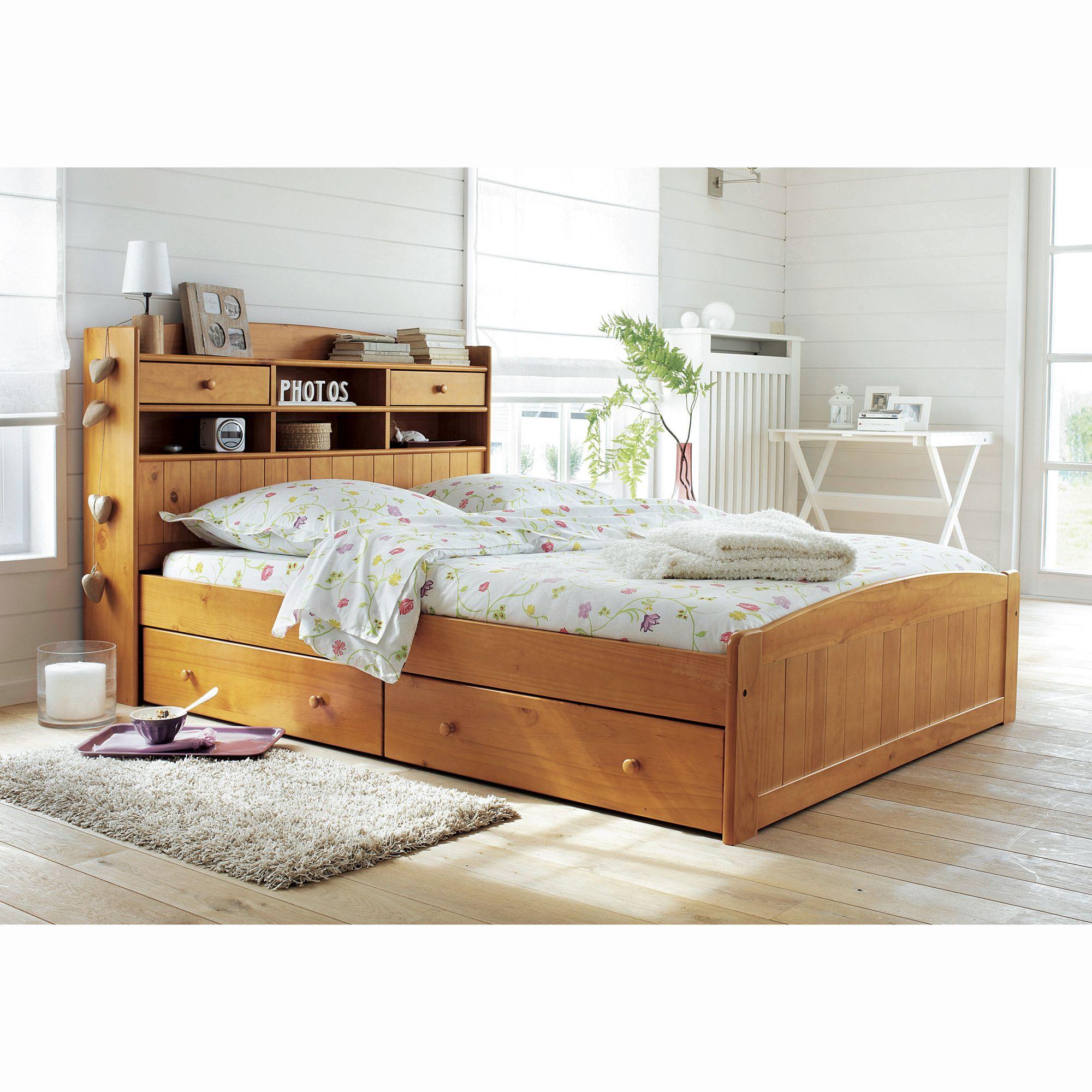 lit adulte lit enfant lit 140 x 190 cm t te de lit tag re 2 tiroirs traversants oxford. Black Bedroom Furniture Sets. Home Design Ideas