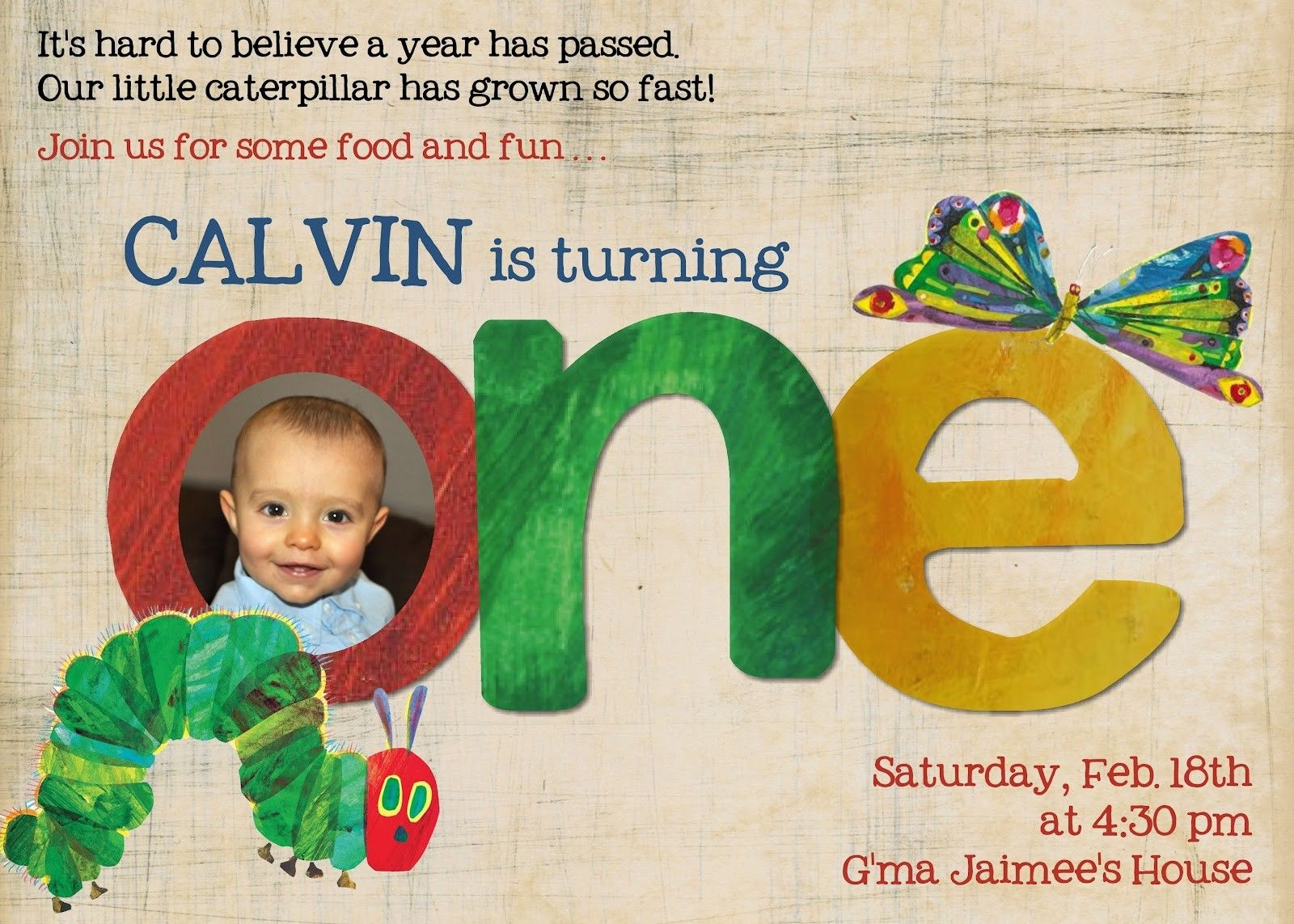 The Very Hungry Caterpillar Invitation Template Free Celebrations