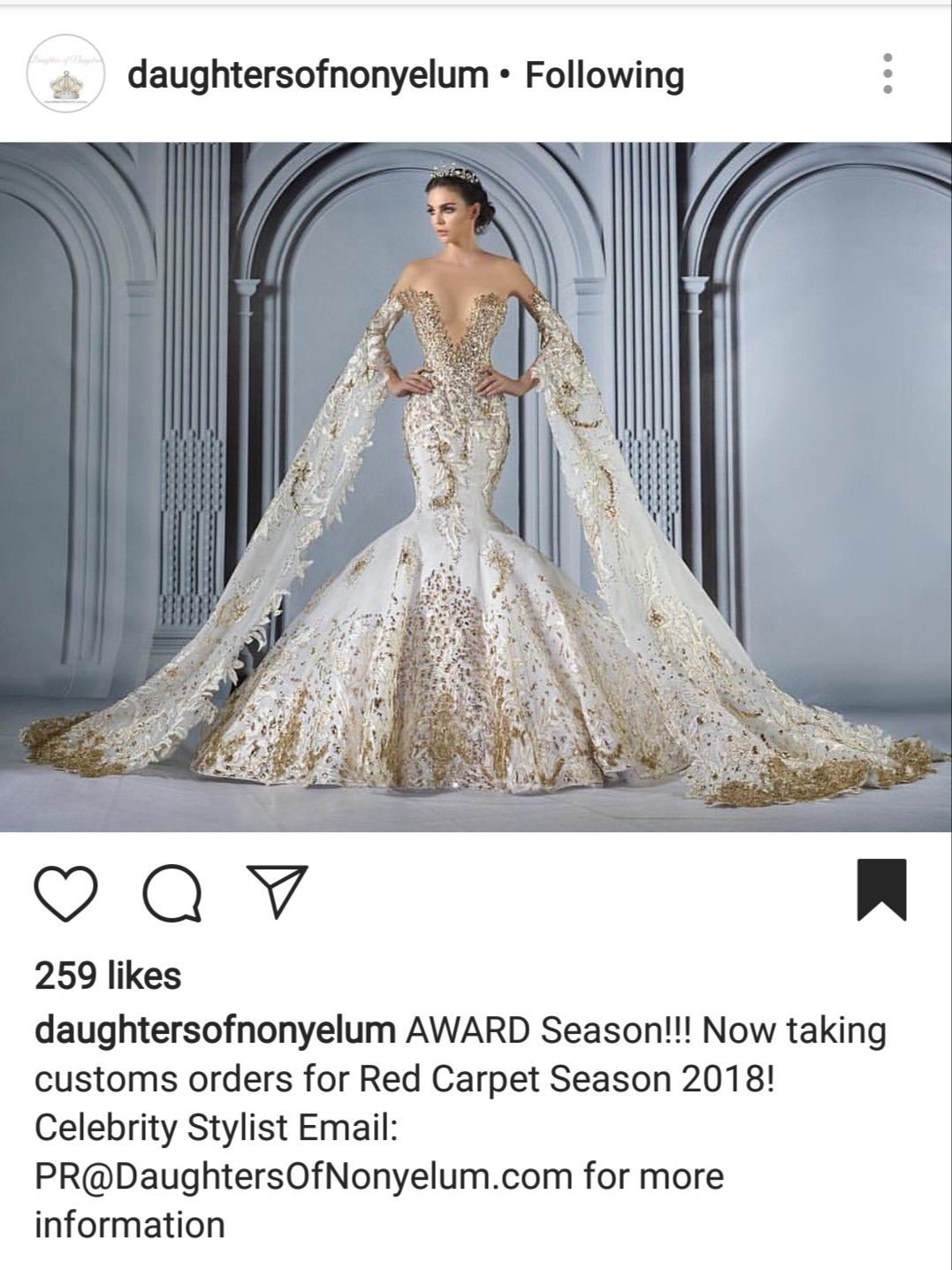 Daughters Of Nonyelum White And Gold Wedding Mermaid Style Wedding Gown Glamourous Wedding Dress Wedding Dress Couture Wedding Dresses