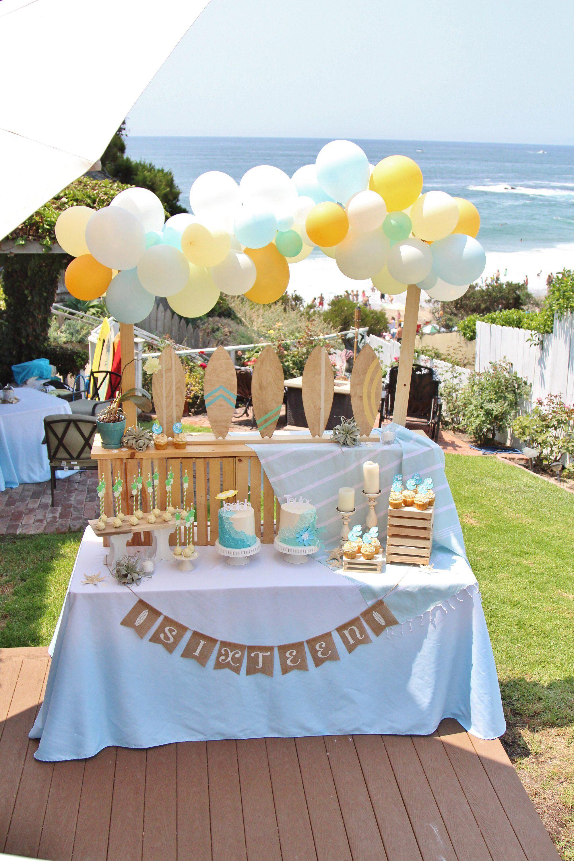 Surf Party Tablecloth Sky Blue Linen Beach Party Linen Beach