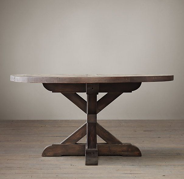 Salvaged Wood X Base Round Dining Table Dining Table Round Dining Table Restoration Hardware Dining Table