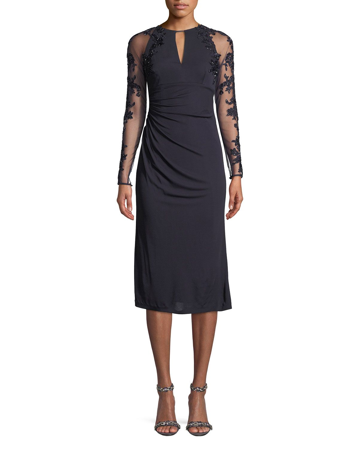 6e3348c0 Stretch Jersey Beaded-Sleeve Cocktail Dress. Stretch Jersey Beaded-Sleeve  Cocktail Dress David Meister ...
