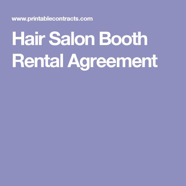 Hair Salon Booth Rental Agreement  Shop Ideas    Salons