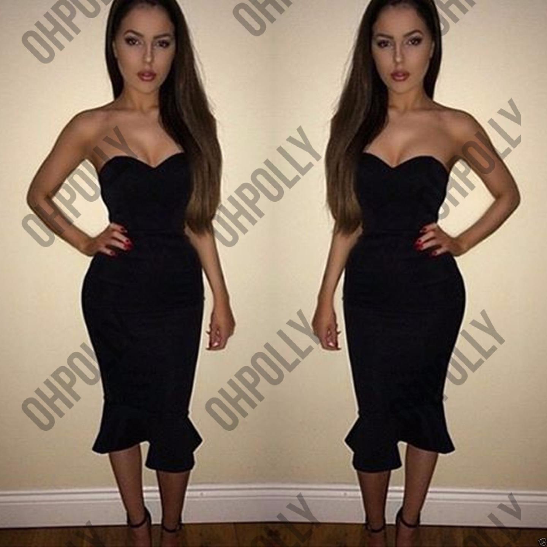 Black bandeau peplum dress