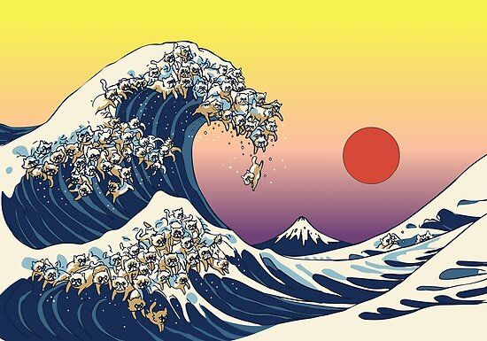 The Great Wave Of Cat Poster by Huebucket