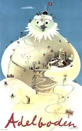 Herbert Leupin - Adelboden. vintage ski poster