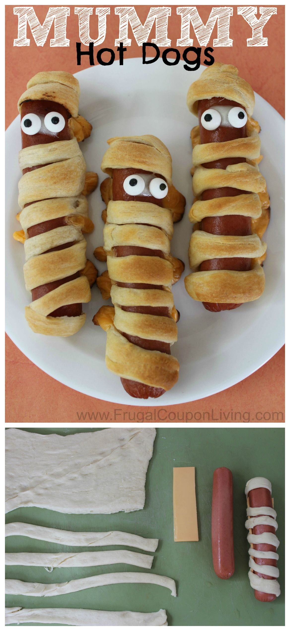 Halloween Mummy Hot Dogs with Crescent Rolls and Cheese #toddlerhalloween
