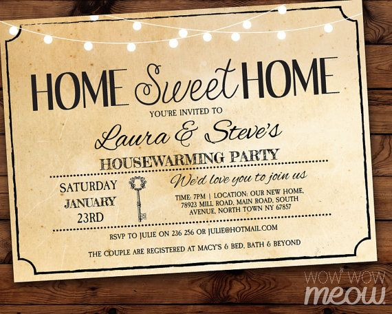 Housewarming Invitation Home Sweet Rustic Home New House Invite Couples  Party