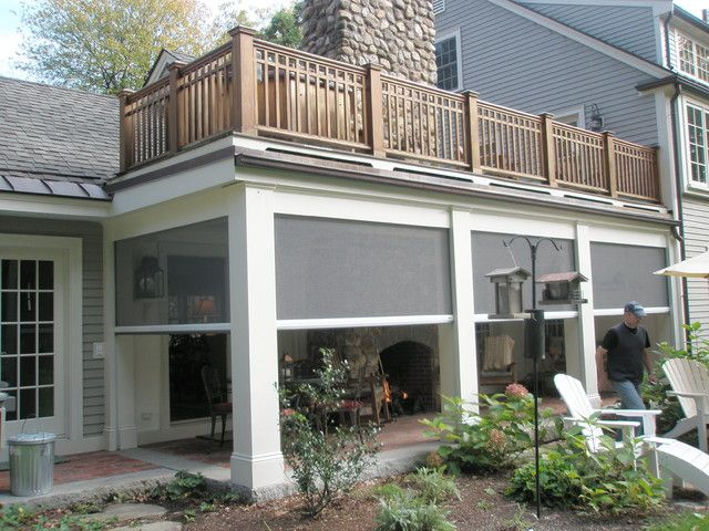 Retractable screens at classic new england farmhouse for Retractable patio screens