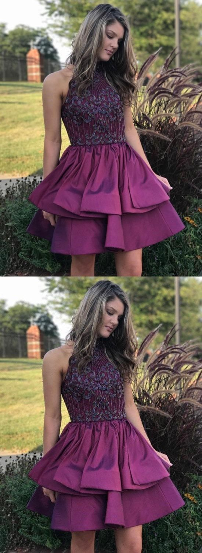 Cute purple short prom dress homecoming dress in dresses