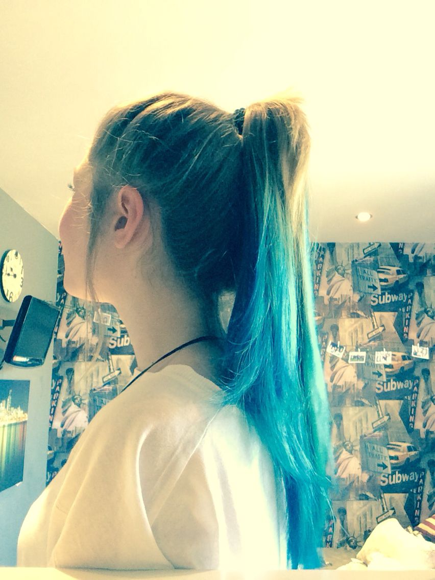 Here is my hair in a pony tail is ombre my blue hair phase
