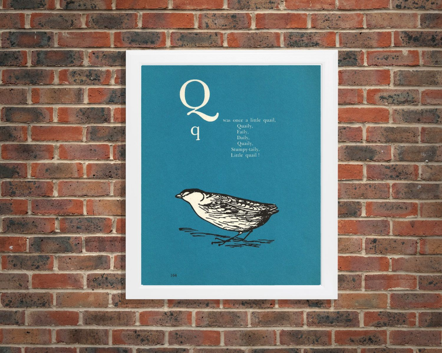 New to RetroPapers on Etsy: Quail Bird Q Letter Theme Decor Print | 1970s  Alphabet